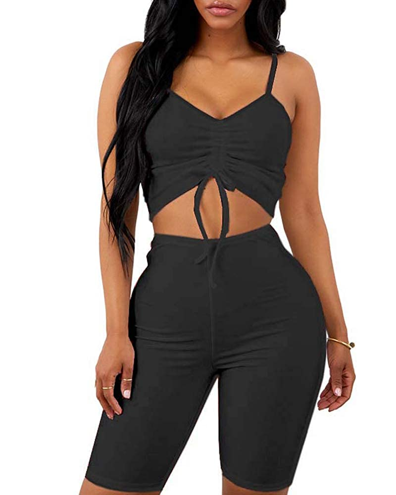 a8d2fb8e57 Women's Sexy Bodycon 2 Piece Outfits Rompers Spaghetti Strap Crop Top +  Shorts Pants Club Wear