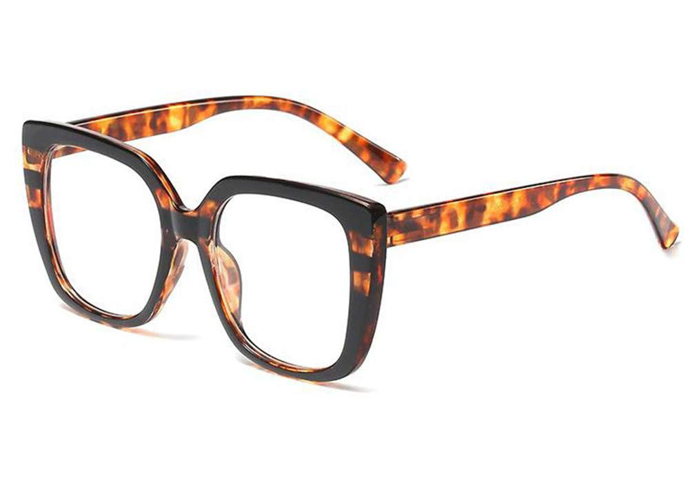 Fashion Womens Optical glasses Oversized Square leopard print eyewear frames Decorative eyeglasses black