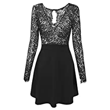 Zeagoo Women's Long Sleeve Lace V Neck Backless Party Cocktail Dress