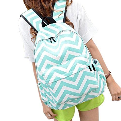 Clode® Nuevo bolso lindo señoras chicas Moire lienzo bolsa mochila mochila escuela de hombro Verde
