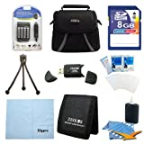 Digital Camera 9 pc Kit AA Rechargeable Batteries & Charger 8GB SD Card & USB Reader, Table-top Tripod, Deluxe Gadget Bag, Memory Card Wallet, Micro Fiber Cloth Lens Cleaning Kit Nikon Canon FujiFilm