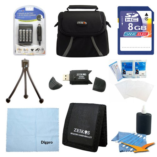 Digital Camera 9 pc Kit AA Rechargeable Batteries & Charger 8GB SD Card & USB Reader, Table-top Tripod, Deluxe Gadget Bag, Memory Card Wallet, Micro Fiber Cloth Lens Cleaning Kit Nikon Canon FujiFilm by Special