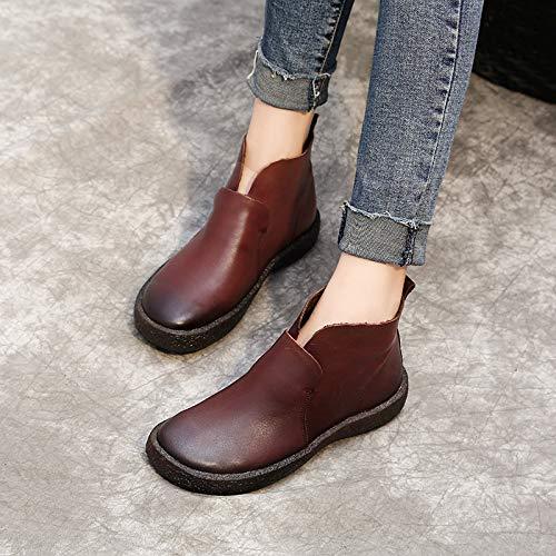 Fuxitoggo Schlüpfen Schlüpfen Schlüpfen Sie auf Stiefel Frauen aus weichem Leder Knöchel Flache Schuhe (Farbe   Braun, Größe   EU 38) 60b3f1