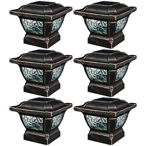 Paradise GL28998BZ Solar Cast Aluminum LED Post Cap Light (Bronze, 6 Pack)