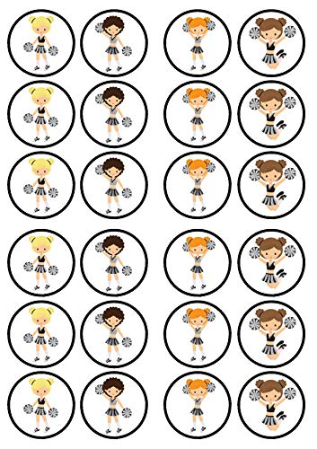 24 Cheerleader Girls #1 Discs Edible Cupcake Toppers - Stand Up Wafer Cake Decorations