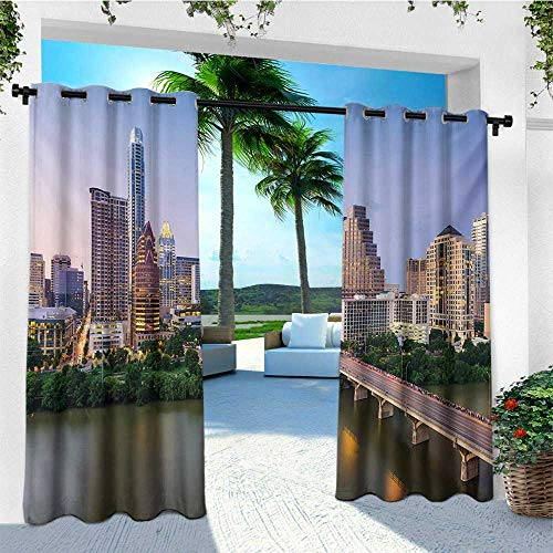 (leinuoyi Modern, Outdoor Curtain Waterproof, Austin Texas American City Bridge Over The Lake Skyscrapers USA Downtown Picture, Fashions Drape W72 x L108 Inch Multicolor)