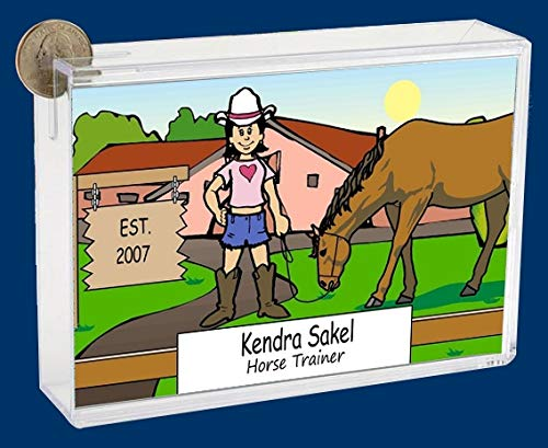 Personalized NTT Cartoon Side Slide Frame Gift: Cowpoke Female Gift, Cowgirl, Horse Lover, Roper, Stables