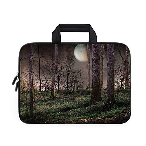 Gothic Laptop Carrying Bag Sleeve,Neoprene Sleeve Case/Dark Night in the Forest with Full Moon Horror Theme Grunge Style Halloween/for Apple Macbook Air Samsung Google Acer HP DELL Lenovo AsusBrown Gr -
