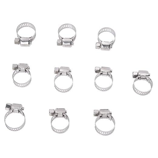 10 pezzi regolabili in acciaio INOX a12050200ux0006 Fascette di serraggio per tubi 6-114 mm argento