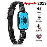 SJCCKJ [New 2019 Upgraded] Bark Collar Humane Anti Barking Training Collar - Dog Anti-Barking Device - Vibration, Beep Mode for Small, Medium, Large Dogs All Breeds (Blue)