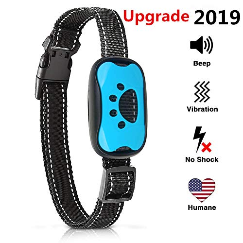 SJCCKJ [New 2019 Upgraded] Bark Collar Humane Anti Barking Training Collar – Dog Anti-Barking Device – Vibration, Beep Mode for Small, Medium, Large Dogs All Breeds (Blue)