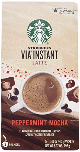 Starbucks Via Peppermint Mocha Latte - 5 Only Serve Packets