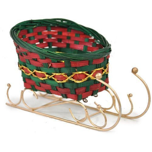 The Lucky Clover Trading Holiday Bamboo Sleigh Basket, 6
