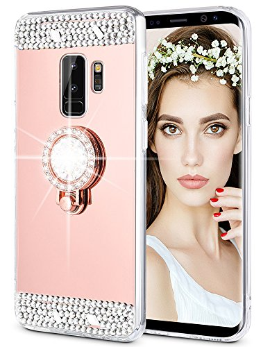 Caka Galaxy S9 Plus Case, Galaxy S9 Plus Glitter Case [Mirror Series] Luxury Cute Shiny Bling Mirror Makeup Case for Girls with Ring Kickstand Diamond TPU Case for Samsung Galaxy S9 Plus - (Rose Gold)