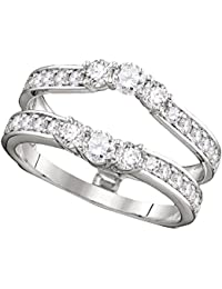 14K White Gold Womens Round Diamond Ring Guard Wrap Solitaire Enhancer 1-Carat tw