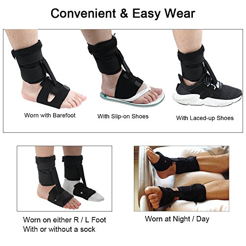 Right or Left Drop Foot Brace,Plantar Fasciitis Splint,Day/Night Dorsal Splint,Foot up Brace Prevent Dragging,Ware Barefoot/Inside Shoes,for Stroke,Achilles Tendonitis,Muscular Distrophy by igoeshopping (Image #2)
