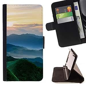 BullDog Case - FOR/Samsung Galaxy S6 / - / Nature Beautiful Forrest Green 102 /- Monedero de cuero de la PU Llevar cubierta de la caja con el ID Credit Card Slots Flip funda de cuer