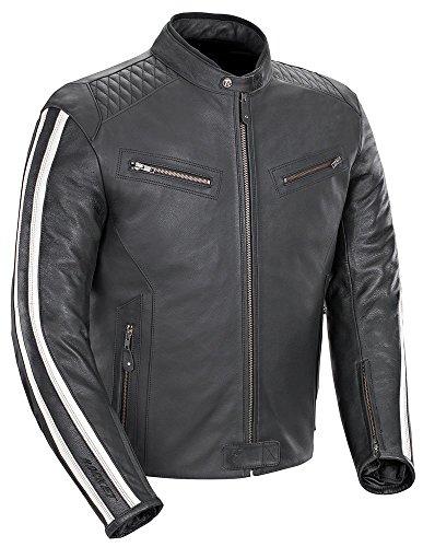 Joe Rocket 'Vintage' Rocket - Retro 60s 70s Leather Racing Jacket - Black/White - XX-Large