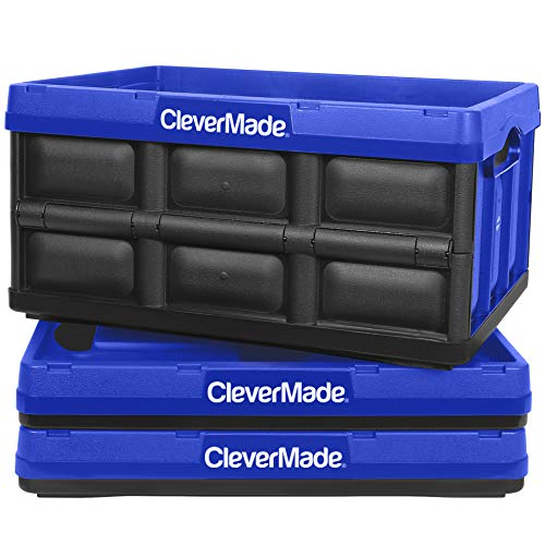 CleverMade 32L Collapsible Storage Bins – Durable Plastic Folding Utility Crates, Solid Wall Stackable Containers for Home & Garage Organization, Royal Blue, 3 Pack
