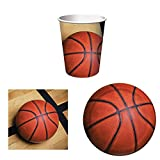 Sports Fanatic Basketball Party Supplies Set for 16: Plates, Napkins, and Cups