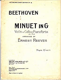 Beethoven Minuet in G for Violin or Cello with Pianoforte
