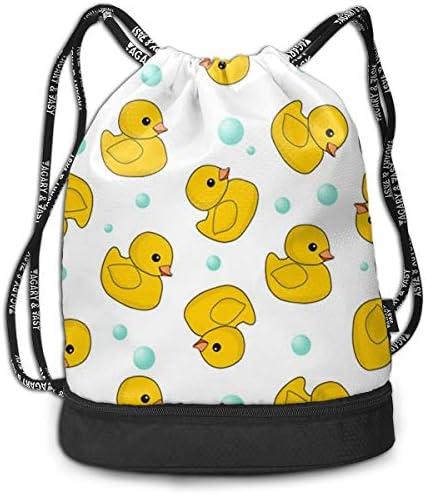 巾着バックパック Bundle Backpack スポーツナップサック 黄色いアヒル 赤ちゃんアヒル 体操服収納 ジムサック 濡れ物用 内ポケット付 巾着袋 収納バッグ 大容量 乾湿分離 シューズ収納 男女兼用 39*41*17.5cm