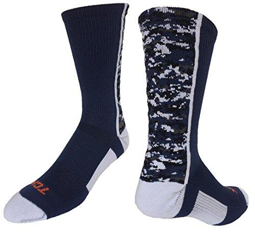 TCK Digital Camo Crew Socks (Navy/White, Medium)