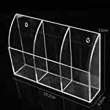Clear Acrylic TV Remote Control Box Holder Wall Mounted Acrylic Bin Box Home Storage Rack Container Sundries Organizer Supplies Model: 3 CASE