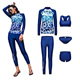 VECTOR 5Pcs Women Long Sleeve Wetsuit Swimsuit Shirt Printed Surfing Pants Diving Snorkeling Suits UPF 50+ UV Sun Protection (Lake Blue, XL)