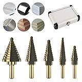 Hotbestus 5PCS Step Drill Bit Set Tools Cobalt Titanium HSS, Total 50 Sizes with Aluminum Case