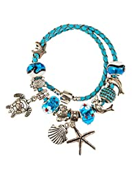 European Ocean Beach Charm Beaded Bracelet 7.5 and 8.5 Inch for Women and Teen Girls Leather Wrap