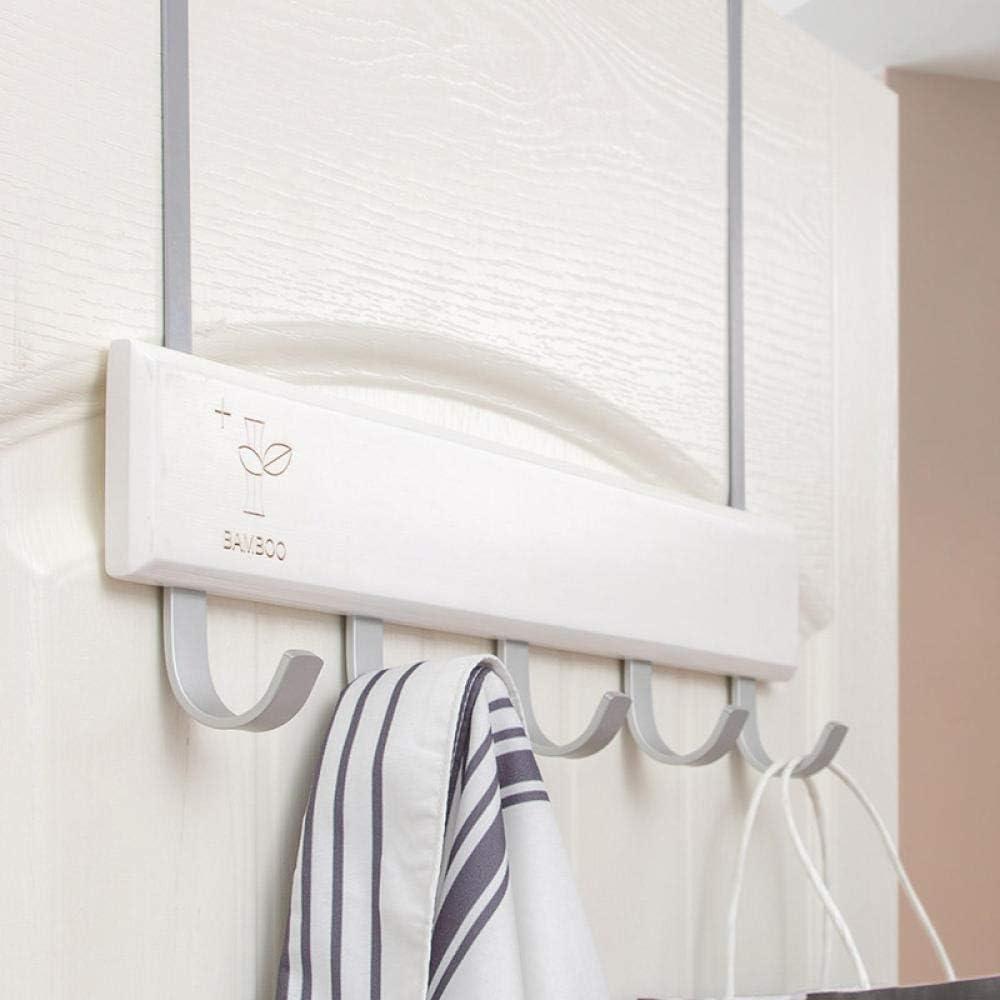 HDOUBR Gancho para puerta creativo Percha para ropa Bastidores sin gancho Percha para puerta de dormitorio Perchero Espacio aluminio-blanco