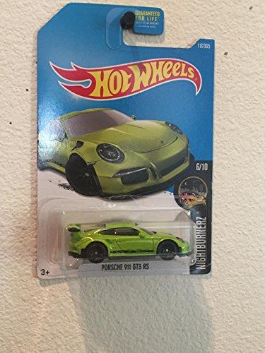 Hot Wheels 2017 Nightburnerz Porsche 911 GT3 RS 117/365, Neon - Green Ferrari
