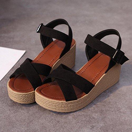 Jamicy Women Summer Flock Simple Design Wedges Sandals Shoes Black Lcgs5s