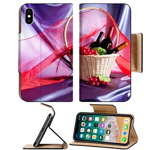 Luxlady Premium Apple iPhone X Flip Pu Leather Wallet Case IMAGE ID: 24461243 Bottle glass wine grapes wicker basket scarf red blue fabric (Basket Bugs Wicker)