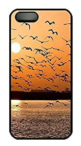 iPhone 5 5S Case Landscapes sunset seagals PC Custom iPhone 5 5S Case Cover Black