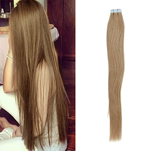 LaBetti tape In Human Hair Extensions - 16 18 20 22 24 Inch 20wigs 30g/16in 40g/18in 50g/20in 60g/22in 70g/24in Set - Silky Straight Skin Weft Human Remy Hair (16in, #27)
