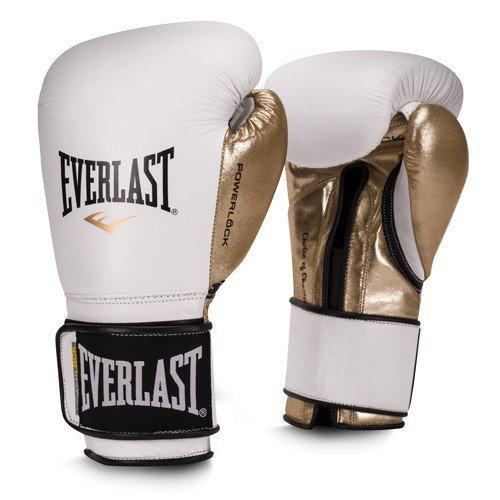 Everlast Premium Leather POWERLOCK Hook & Loop Training Gloves (White/Gold, 12oz) by Everlast