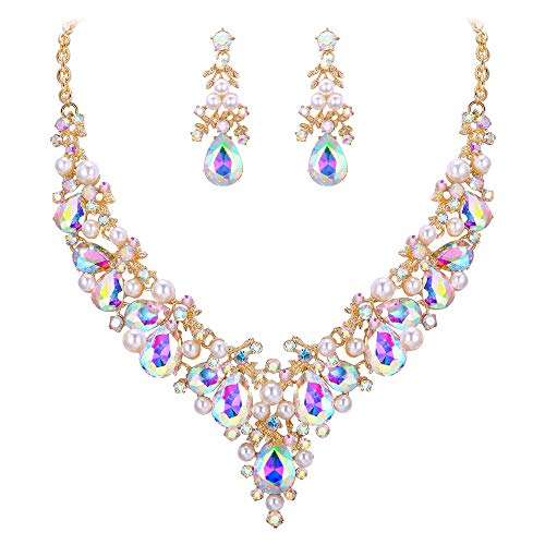 EVER FAITH Crystal Simulated Pearl Prom Leaf Teardrop Necklace Earrings Set Iridescent Clear AB Gold-Tone