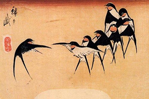 Poster Foundry Utagawa Hiroshige Dancing Swallows Print Stre