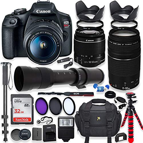 Canon EOS Rebel T7 DSLR Camera with 18-55mm is II Lens Bundle + Canon EF 75-300mm III Lens & 420-800mm Preset Telephoto Zoom Lens + 32GB Memory + Filters + Spider Tripod + Professional Bundle