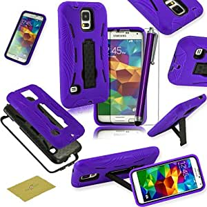 Fulland Stylish Hybrid ArmorHard Case and Silicone Skin kickstand for Samsung S3 III I9300 Plus Stylus Pen and Screen Protector -Purple