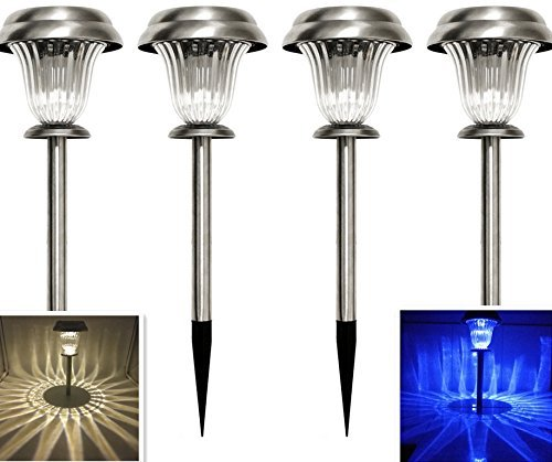 Sogrand Solar Garden Lights Outdoor Decorations Stakes Pathway Decorative Stake Light Stainless Steel Dual Color LED Landscape Decor Waterproof Bright Lamp for Outside Walkway Yard Patio 4Pack
