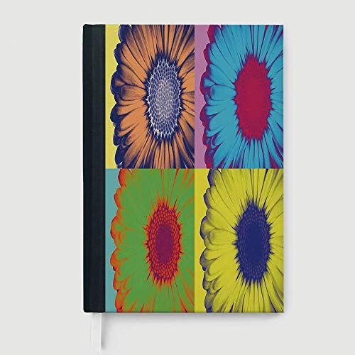 Casebound Hardcover Notebooks,Modern Art Home Decor,Notepad Student Award Gift Decorative Notebooks,Pop Art Inspired Colorful Kitschy Daisy Flower Hard Edged Western Design,96 Ruled Sheets,B5/7.99x10.