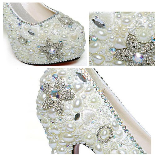 Heels Silver Stunning 5 Wedding Sho168820 Platform Pearl Shoes Inches 4 Covered High Party 0qB7wp0