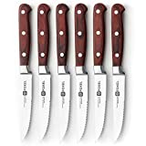 Steak Knives Knife Set of 6 or 12 - Stainless Steel Serrated Steak Knife Set w/German Stainless Steel Blade, Full Tang Handle, and Natural Rosewood - Steak Knifes Gift Box Set Not Dishwasher Safe