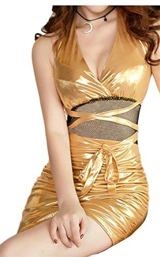Jaycargogo Des Femmes De Boîte De Nuit Lacées Paillettes De La Mode Sans Manches Sexy Robe Licou D'or