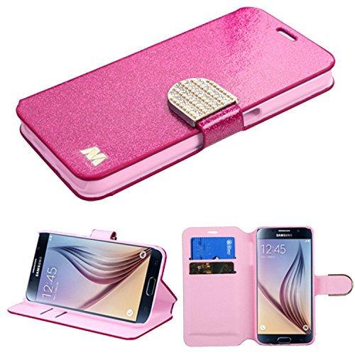MyBat Samsung Galaxy S6 Glittering MyJacket Wallet Carrying Case with Diamante Belt - Retail Packaging - Hot pink