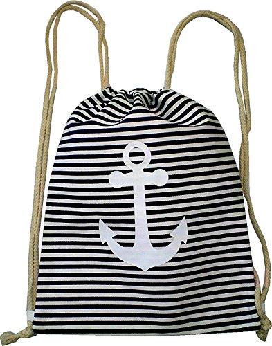 Borsa zaino uomo donna marinaio Hipster Nero a righe sacca borsa di tela borsa sacchetto di stoffa per bambini di ginnastica tasche–ancoraggio 4757NERO