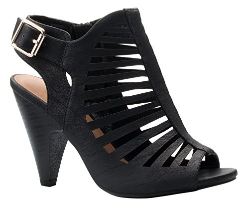 OLIVIA K Womens Cut Out Strappy Buckle Sling Back Chunky High Heel Sandals